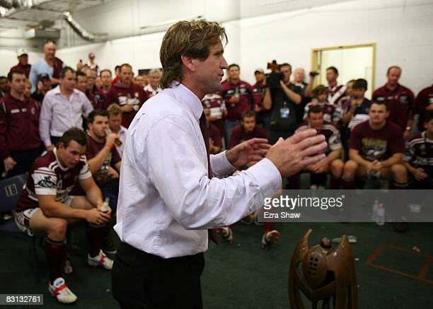 Sea Eagles head coach Des Hasler speaks to his team in the change rooms after winning the NRL Grand Final match between the Manly Warringah Sea...