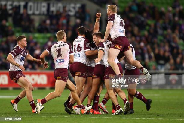 Sea Eagles players celebrate their win during the round 19 NRL match between the Melbourne Storm and the Manly Sea Eagles at AAMI Park on July 27,...