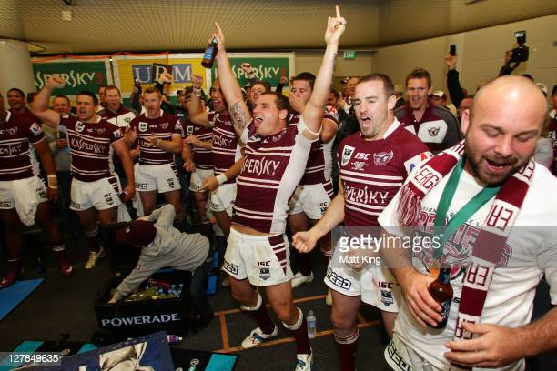 Sea Eagles players celebrate victory in the dressing room after the 2011 NRL Grand Final match between the Manly Warringah Sea Eagles and the...