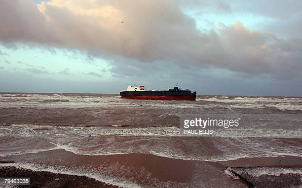 A sea ferry called 'Riverdance' is pictured beached near Blackpool northwest England after it's crew were winched to safety 01 February 2008 Nine...
