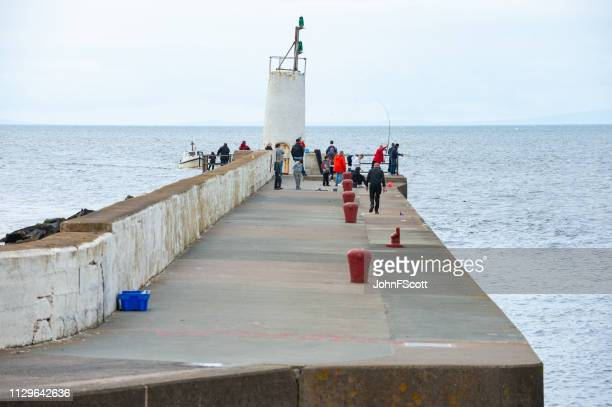 sea fishing from a harbour wall - johnfscott stock pictures, royalty-free photos & images
