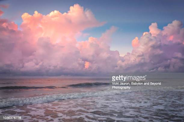 sea foam and pink puffy clouds at sunrise on myrtle beach, south carolina - nuvens fofas imagens e fotografias de stock