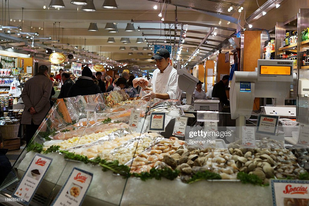 Sea food is displayed in a market on January 10, 2013 in New York City. A new London-based study by the The Institution of Mechanical Engineers found that as much as half of the food produced in the world ends up going to waste. The study found that irresponsible retailer and consumer behavior contributed to 1.2 billion to two billion of the four billion metric tons of food produced globally that goes uneaten.