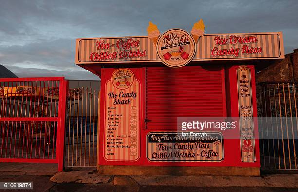 Sea front amusements in Redcar are lit by morning sunlight on September 27 2016 in Redcar United Kingdom One year on since the SSI steel making plant...