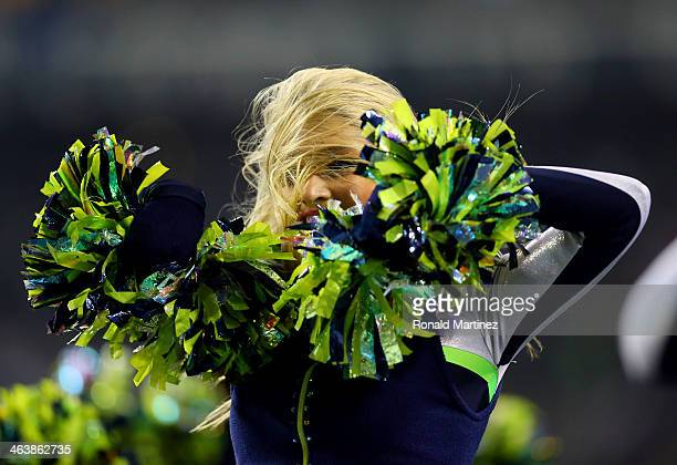 Sea Gals perform during a break in the 2014 NFC Championship between the Seattle Seahawks and the San Francisco 49ers at CenturyLink Field on January...