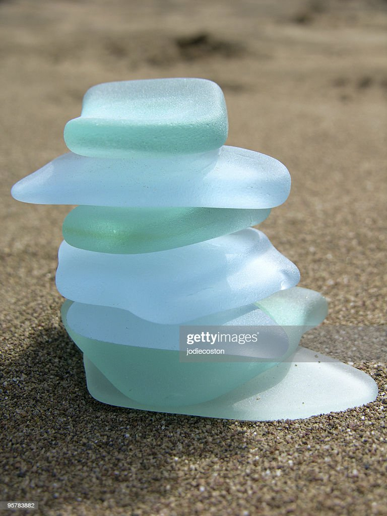 Sea Glass Cairn : Stock Photo