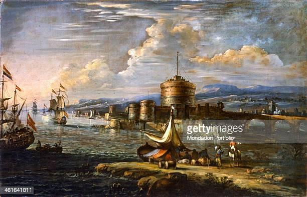 Sea Harbour near Castel Sant'Angelo by Johann Anton Eisman also known as Isman 17th century canvas Italy Veneto Padua Civic Museums Whole artwork...
