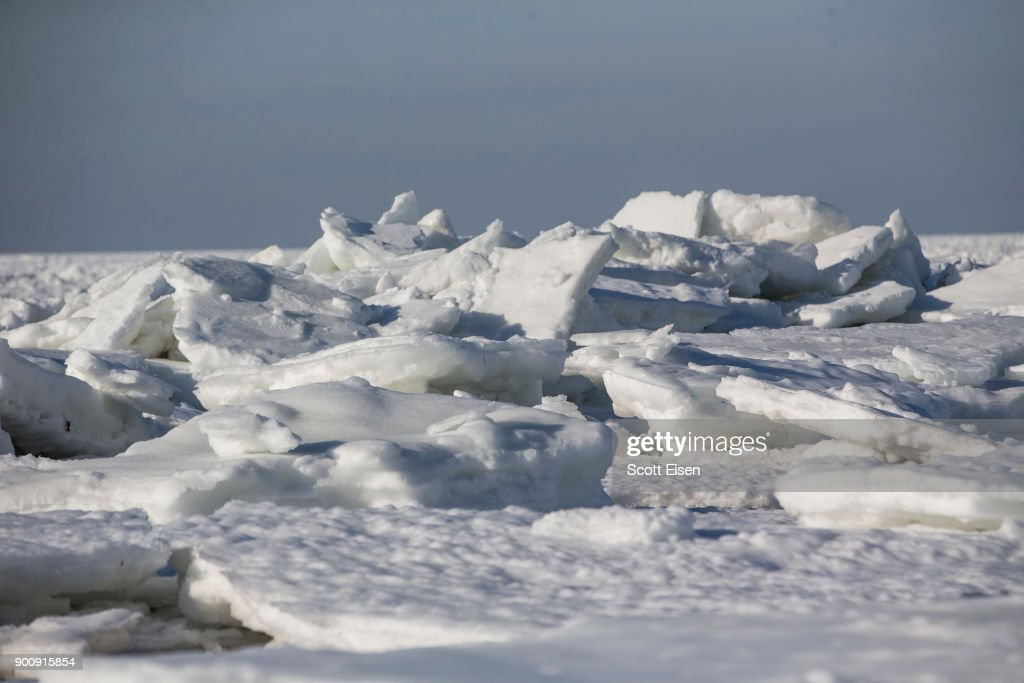 Sea ice covers Cape Cod Bay as viewed from Rock Harbor Beach on January 3, 2018 in Orleans, Massachusetts, A winter storm is hitting the east coast from Florida to New England bringing snow and frigid temperatures.