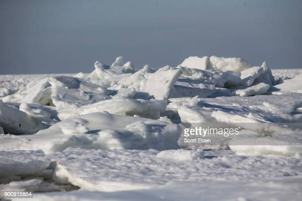 Sea ice covers Cape Cod Bay as viewed from Rock Harbor Beach on January 3 2018 in Orleans Massachusetts A winter storm is hitting the east coast from...