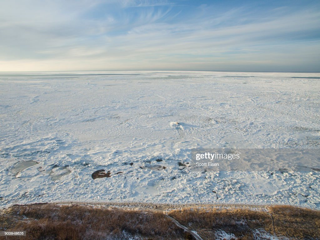 Sea ice covers Cape Cod Bay in the area of Rock Harbor Beach on January 3, 2018 in Orleans, Massachusetts. A winter storm is hitting the east coast from Florida to New England bringing snow and frigid temperatures.