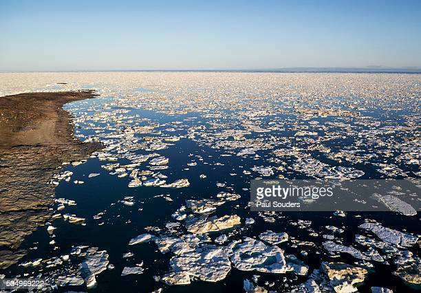 sea ice, hudson bay, nunavut, canada - pakijs stockfoto's en -beelden