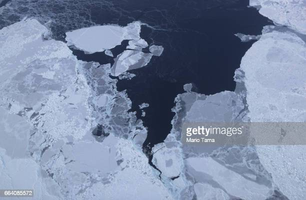 Sea ice is seen from NASA's Operation IceBridge research aircraft off the northwest coast on March 30 2017 above Greenland NASA's Operation IceBridge...