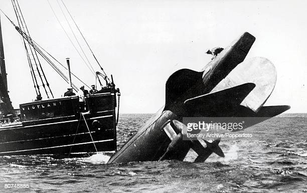 Sea June 1939 A general view of the Thetis submarine in the water after its sinking 99 people died in the disaster with only four surviving