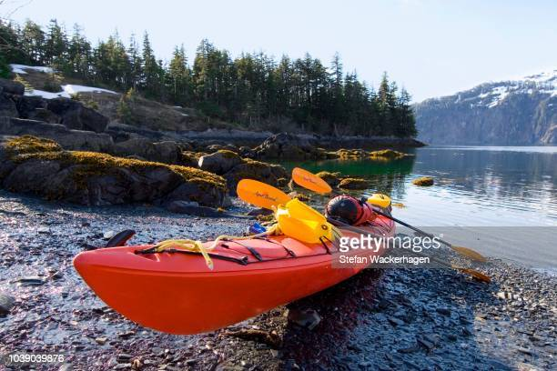 sea kayak on the shore, evening light, pacific coast, prince william sound, chugach national forest, alaska, usa - chugach state park stock pictures, royalty-free photos & images