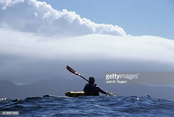 sea kayaker near cape flattery - cape flattery stock photos and pictures