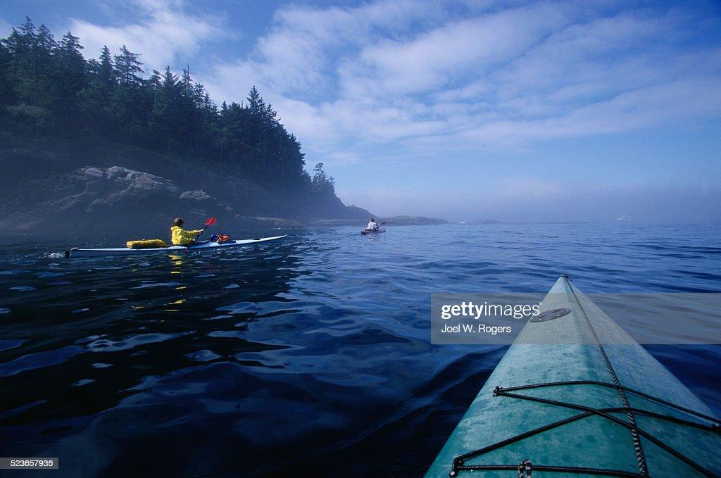 Sea Kayakers in the Strait of Juan de Fuca : Stock Photo