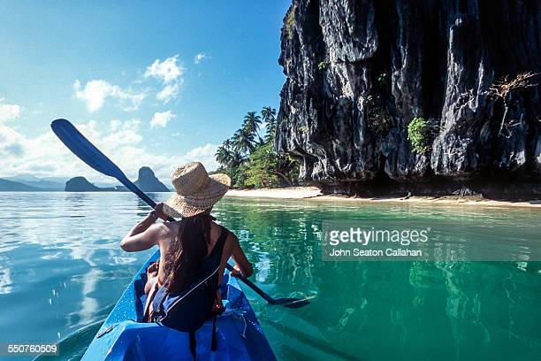 sea kayaking - el nido stock pictures, royalty-free photos & images