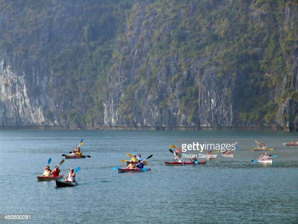 CONTENT] Sea kayaks near Cat Ba Island in Halong Bay Tourists seacanoes CatBa Ha Long Bay kayakers paddling canoes touristic recreation activity...