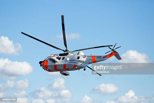 sea king rescue helicopter , oslo norway - red stockfoto's en -beelden