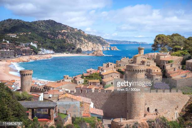sea landscape badia bay in tossa de mar in girona - maresme stock photos and pictures