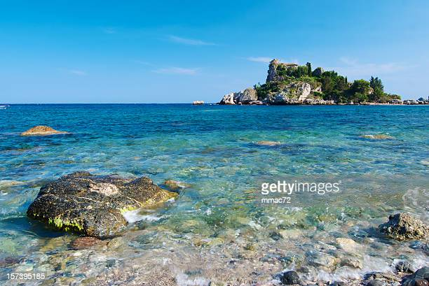 sea landscape, isola bella, sicily - taormina stock pictures, royalty-free photos & images