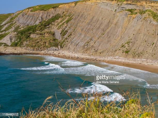 sea landscape on the coast of cantabria, spain - 防波堤 ストックフォトと画像