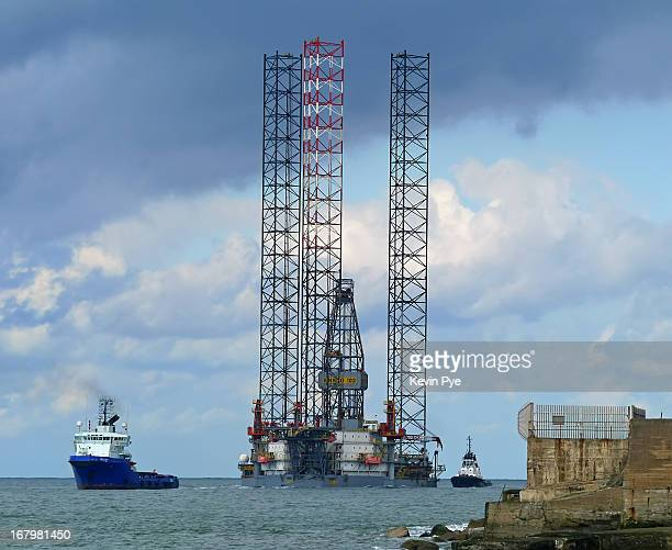 Sea Lynx pulling the Ensco 102 jack up rig into the Tees for repair,accompanied by Tugs Svitzer Hutton and Svitzer Castle seen here coming past the...