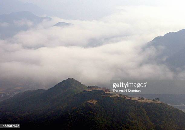 Sea of cloud is seen around the Takeda Castle ruins on October 28 2009 in Asago Hyogo Japan