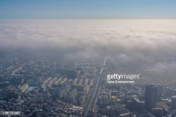 sea of clouds in tokyo - saha entertainment stock pictures, royalty-free photos & images