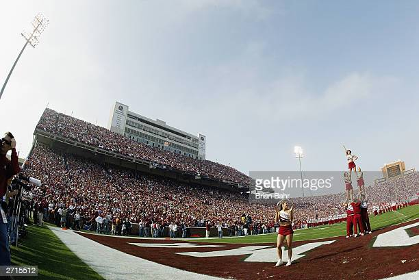 A sea of crimson and cream clad Oklahoma Sooners fans watch the game against the Oklahoma State Cowboys on November 1 2003 at Memorial Stadium in...