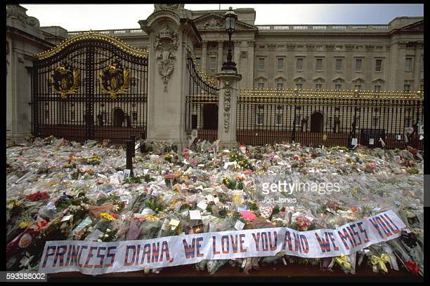 A sea of flowers in front of Buckingham Palace bear witness to Lady Diana's great popularity