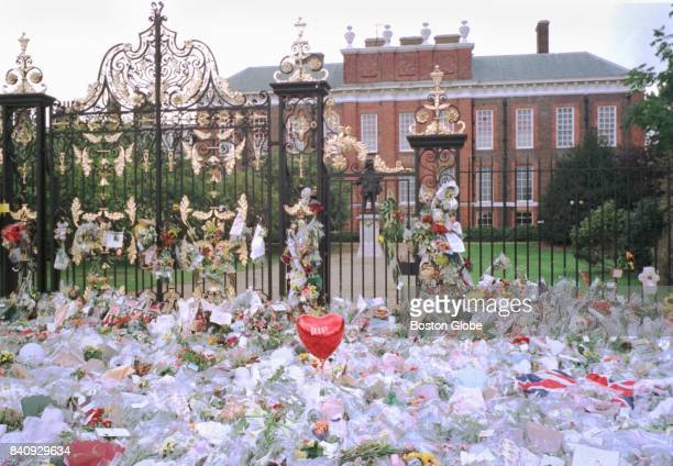A sea of flowers laid in tribute is pictured in front of Kensington Palace in London near the home of Princess Diana of Wales two days after her...