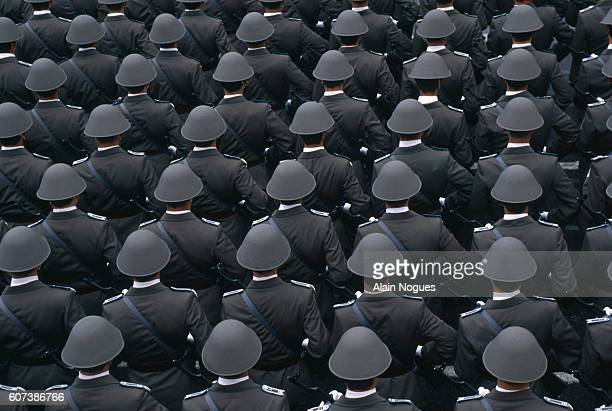 A sea of gray soldier's helmets in the military parade for the 40th Anniversary of the German Democratic Republic