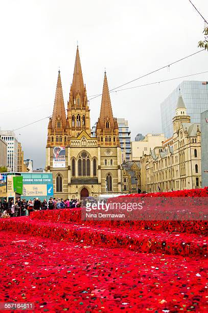 Sea of handmade red poppies at Federation Square to commemorate the Centenary of Gallipoli landing ANZAC day 25th April 2015