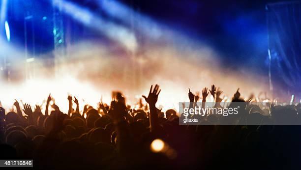 mar de manos en un concierto. - manos en el aire fotografías e imágenes de stock