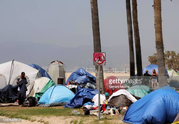 Sea of homeless tents takes over an area between the bike path and Ocean Front Walk in Venice on April 16, 2021.