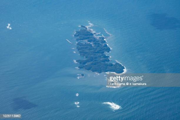 sea of japan and ainoshima island in kitakyushu city in fukuoka prefecture in japan daytime aerial view from airplane - 北九州市 ストックフォトと画像
