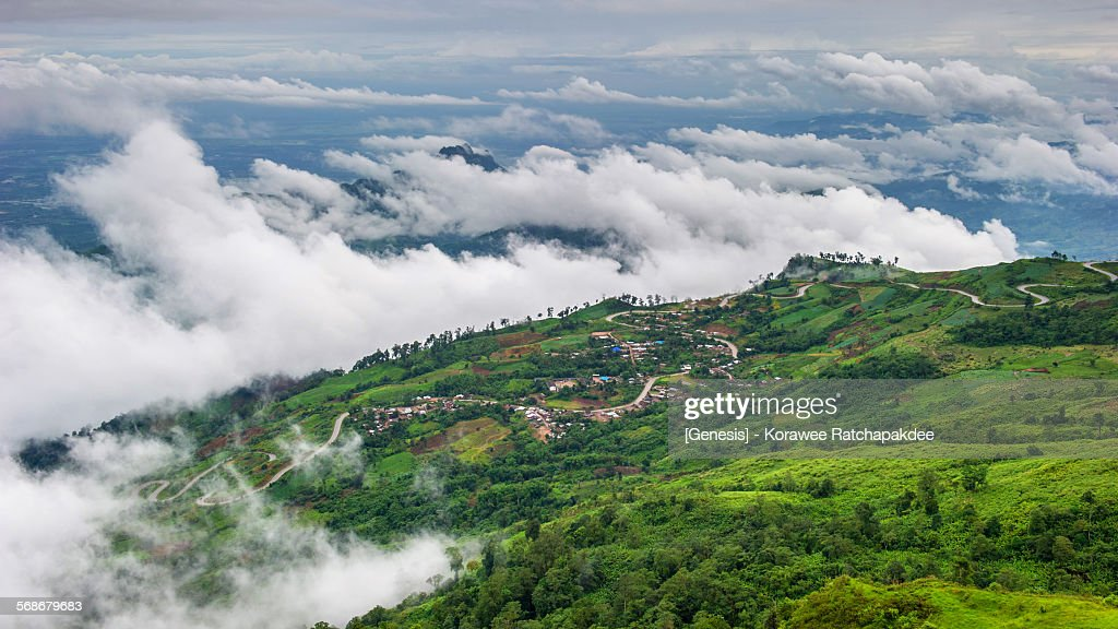 Sea of mist over the mountain : Stock Photo