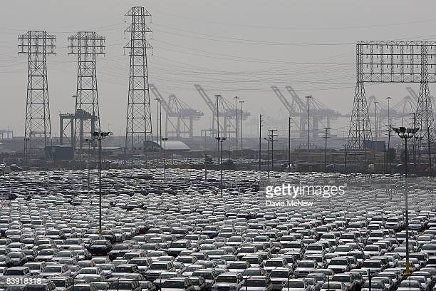 Sea of newly imported cars fills the 150-acre terminal lot at the Toyota Long Beach Vehicle Distribution Center at the Port of Long Beach as...