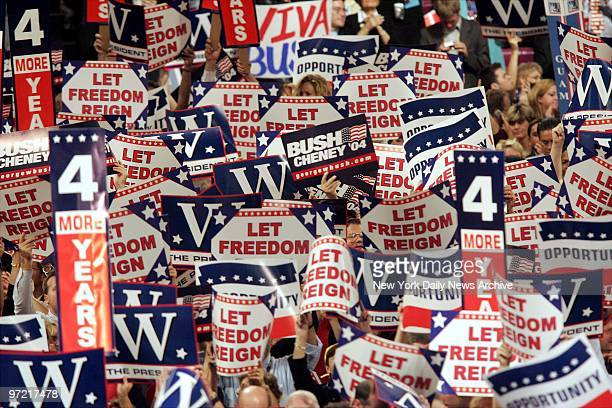 Sea of signs covers the floor at the Republican National Convention at Madison Square Garden.