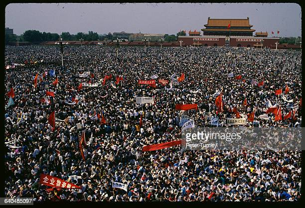 A sea of student protesters gathers in Tiananmen Square on May 4 1989 They were asking for greater freedom of speech and democracy