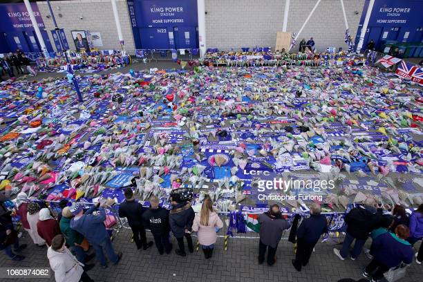 A sea of tributes adorns Leicester City's King Power Stadium after owner Vichai Srivaddhanaprabha and four others died in a helicopter crash at the...