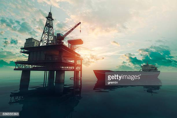 sea oil rig with approaching tanker ship at sunset - oil industry stock pictures, royalty-free photos & images