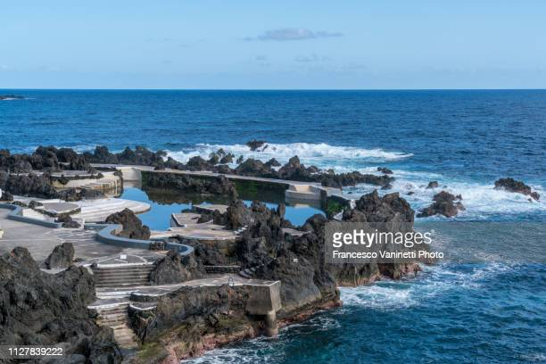 sea pools in porto moniz, madeira. - madeira island stock photos and pictures