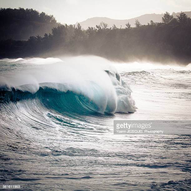 sea power, wave during a storm in la réunion - embrun stock pictures, royalty-free photos & images