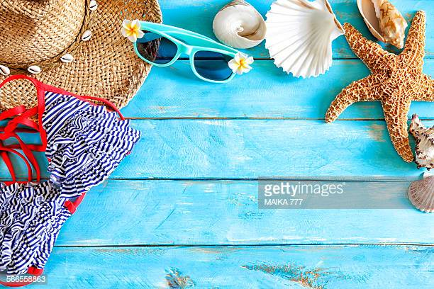 Sea shells & accessories of beach forming a frame