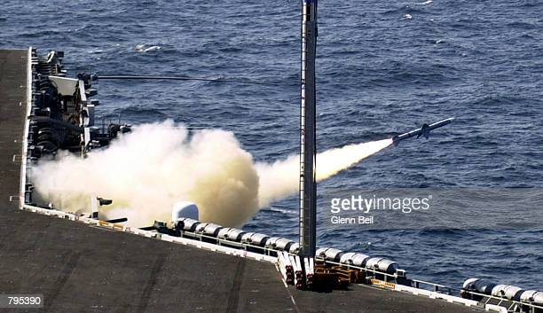 Sea Sparrow missile is fired from the USS George Washington during a weapons test June 21, 2002 off the coast of North Carolina. The carrier, along...