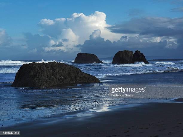 Sea Stacks and Huge Waves in Bandon, Oregon