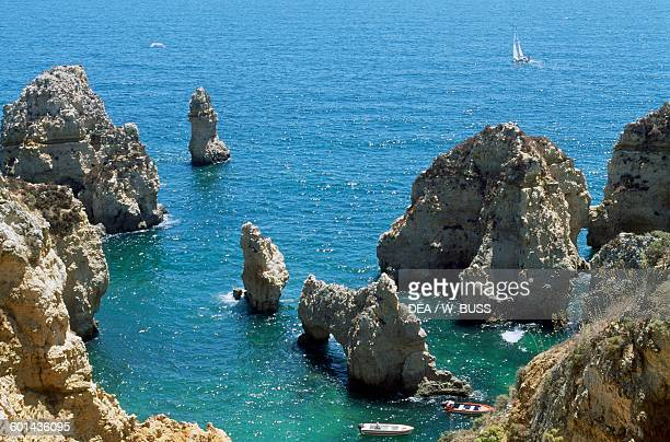 Sea stacks near Ponta da Piedade near Lagos Algarve Portugal