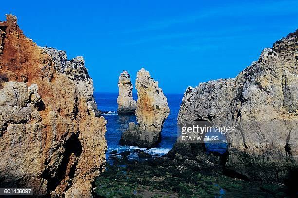Sea stacks near Ponta da Piedade near Lagos Algarve Portugal